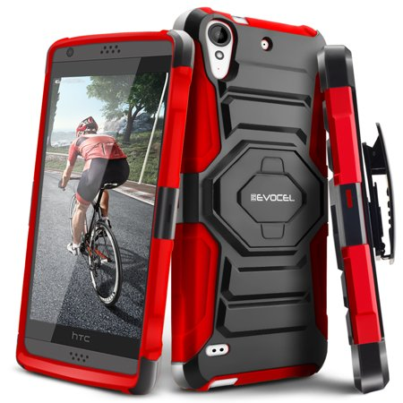 Htc Desire 530 Case  Evocel  New Generation  Rugged Holster Dual Layer Case  Kickstand  Belt Swivel Clip  For Htc Desire 530   Red