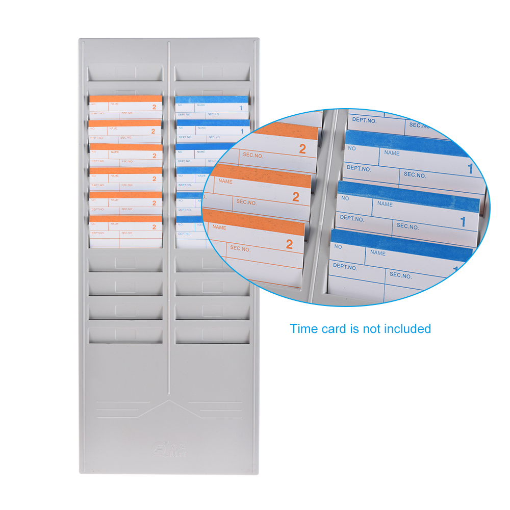 24-Slot Time Card Rack Plastic Wall Mounted Cards Holder for Office Factory Time Card Machine Attendance... by