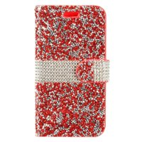 Product Image EagleCell Book-Style Leather Bling Case with card slot For Samsung Galaxy S8 - Red