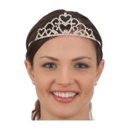 Silver Rhinestone Princess Tiara Crown Queen Double Heart Costume Headpiece](Crown Queen Of Hearts)