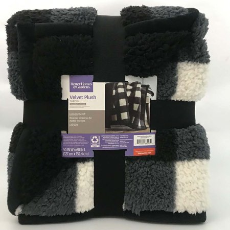 "Better Homes & Gardens Sherpa Throw Blanket, 50"" x 60"", Black Plaid"