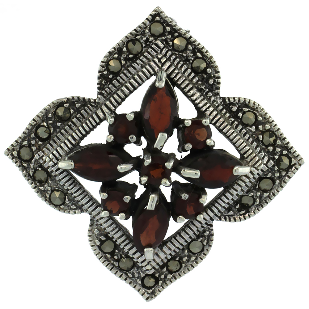 Sterling Silver Marcasite Clover Brooch Pin w  Round & Marquise Cut Garnet Stones, 1 1 2 inch (38 mm) tall by WorldJewels