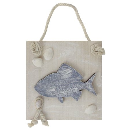 "6"" Blue and White Cape Cod Inspired Fish Wall Hanging Plaque with Seashells"