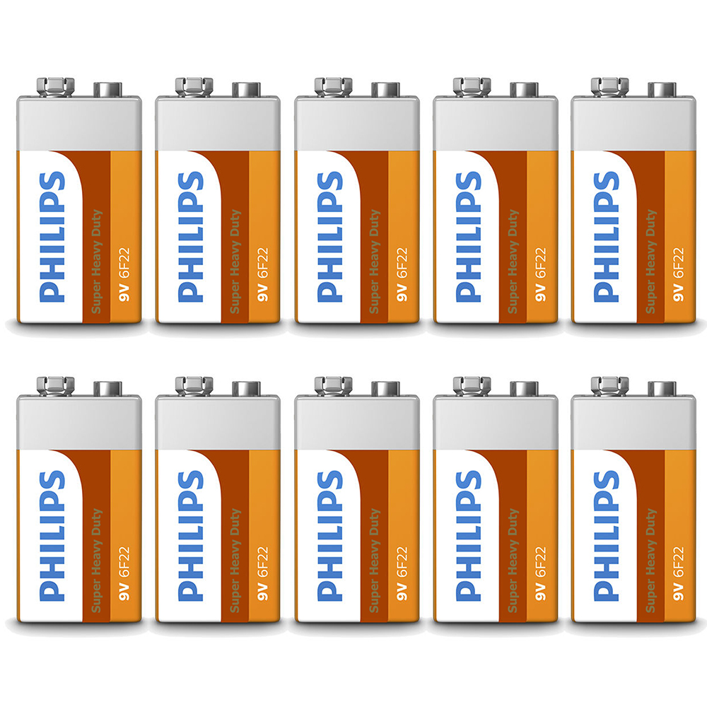 10 x 9 Volt 9V Batteries Philips Heavy Duty Battery 6F22 Alarm Detector Exp 2019