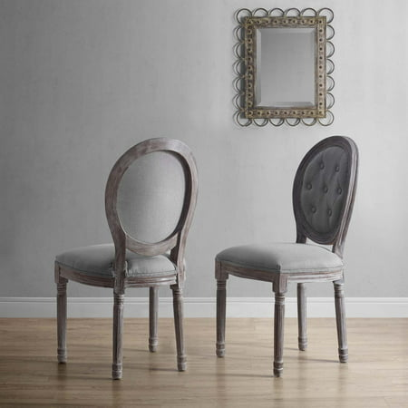 Modway Arise Vintage French Upholstered Fabric Dining Side Chair Set of 2 in Light Gray 2 French Country Chairs