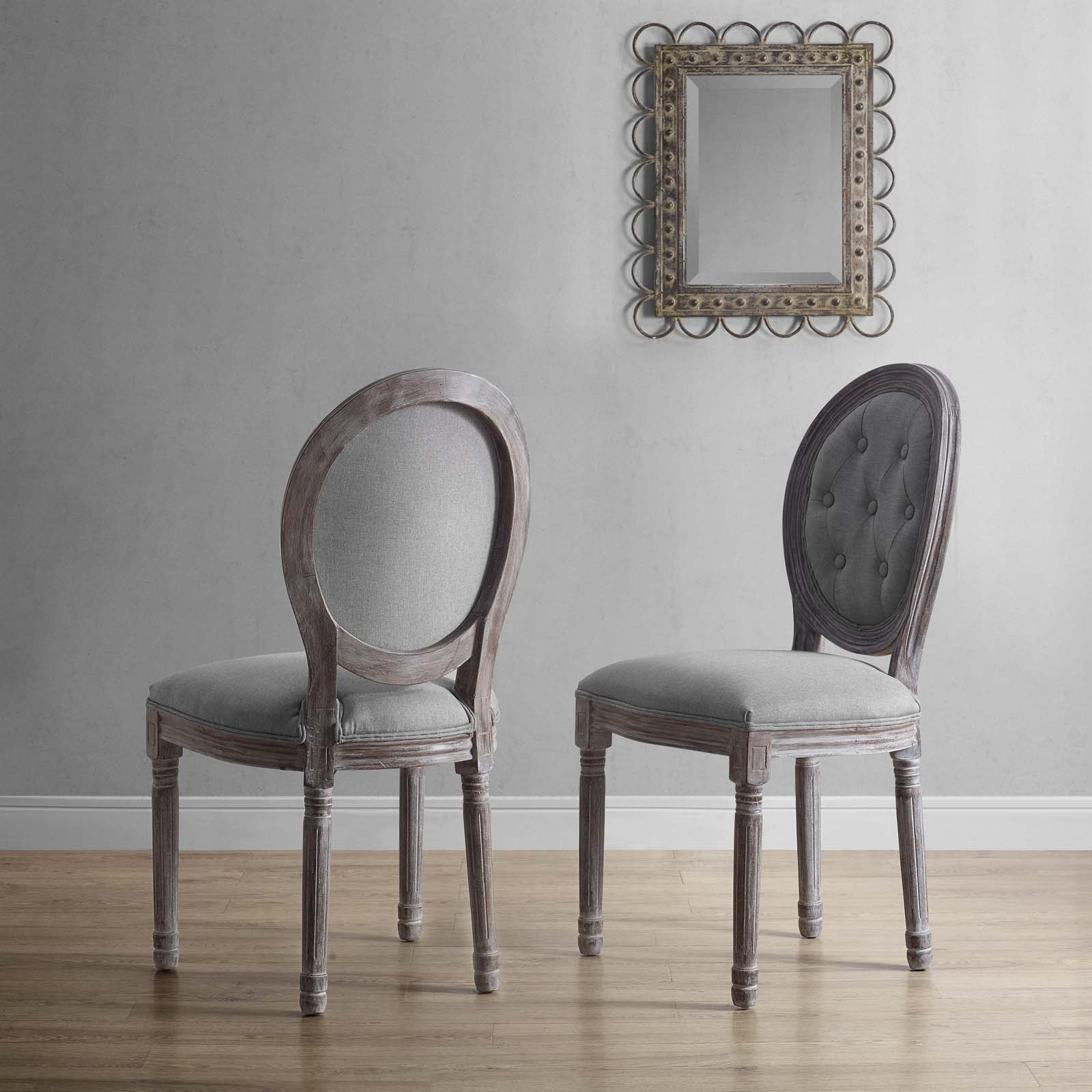 Modway Arise Vintage French Upholstered Fabric Dining Side Chair Set of 2 in Light Gray