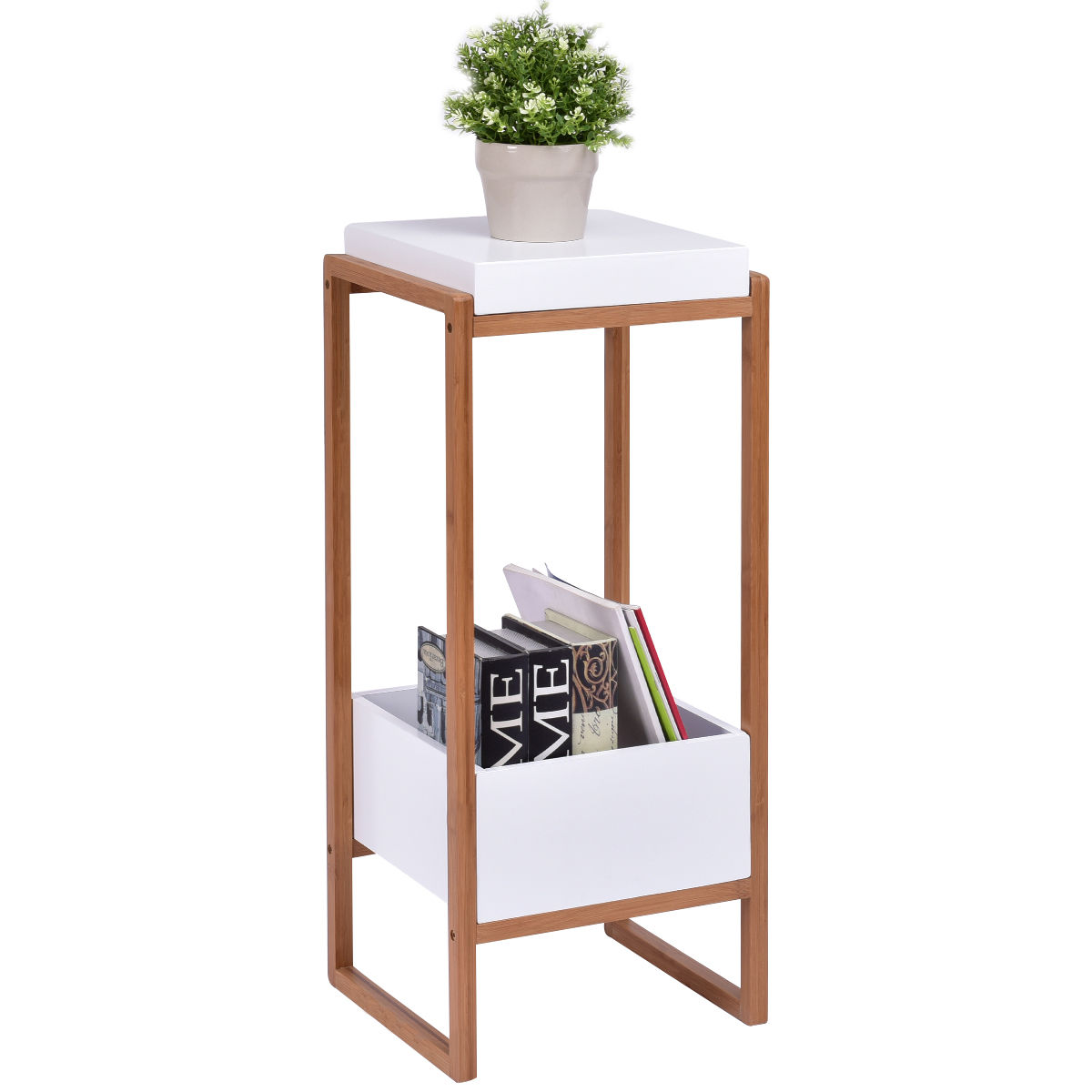 Gymax Side End Table Accent Table Storage Night Stand Display Shelf Bins Living by Gymax