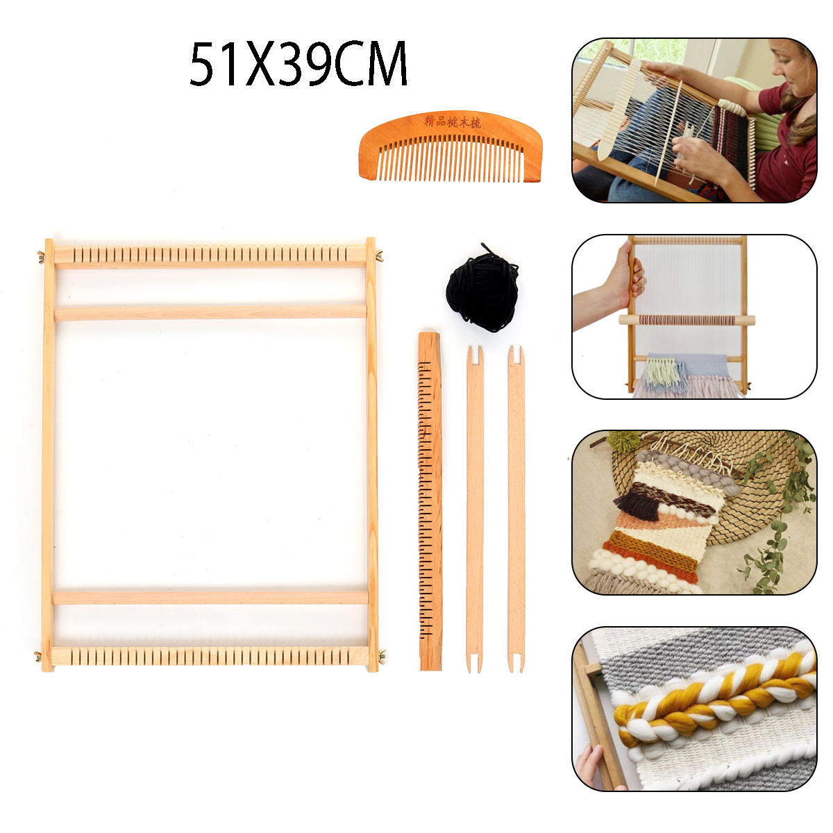 Wooden Looming Set Tapestry Loom Kit Weaving Loom Kit LARGE With Stand