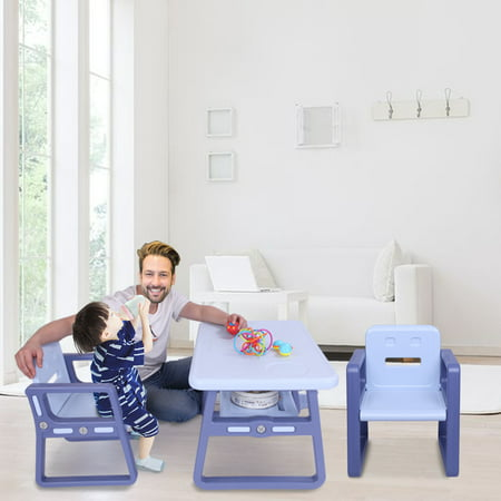 Toddler Table and Chair set, Easy Clean 3 Pcs Kids Table and Chair Set for Eat, Read, Child Art Table/Study/Picnic/Activity/Dining Table, Playroom Furniture for 3+ Years Old Boy/Girl, Purple, W5561 ()