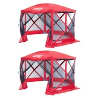 Clam Quick Set Escape Sport Screen Canopy Gazebo Tailgate Tent, Red/Red (2 Pack)