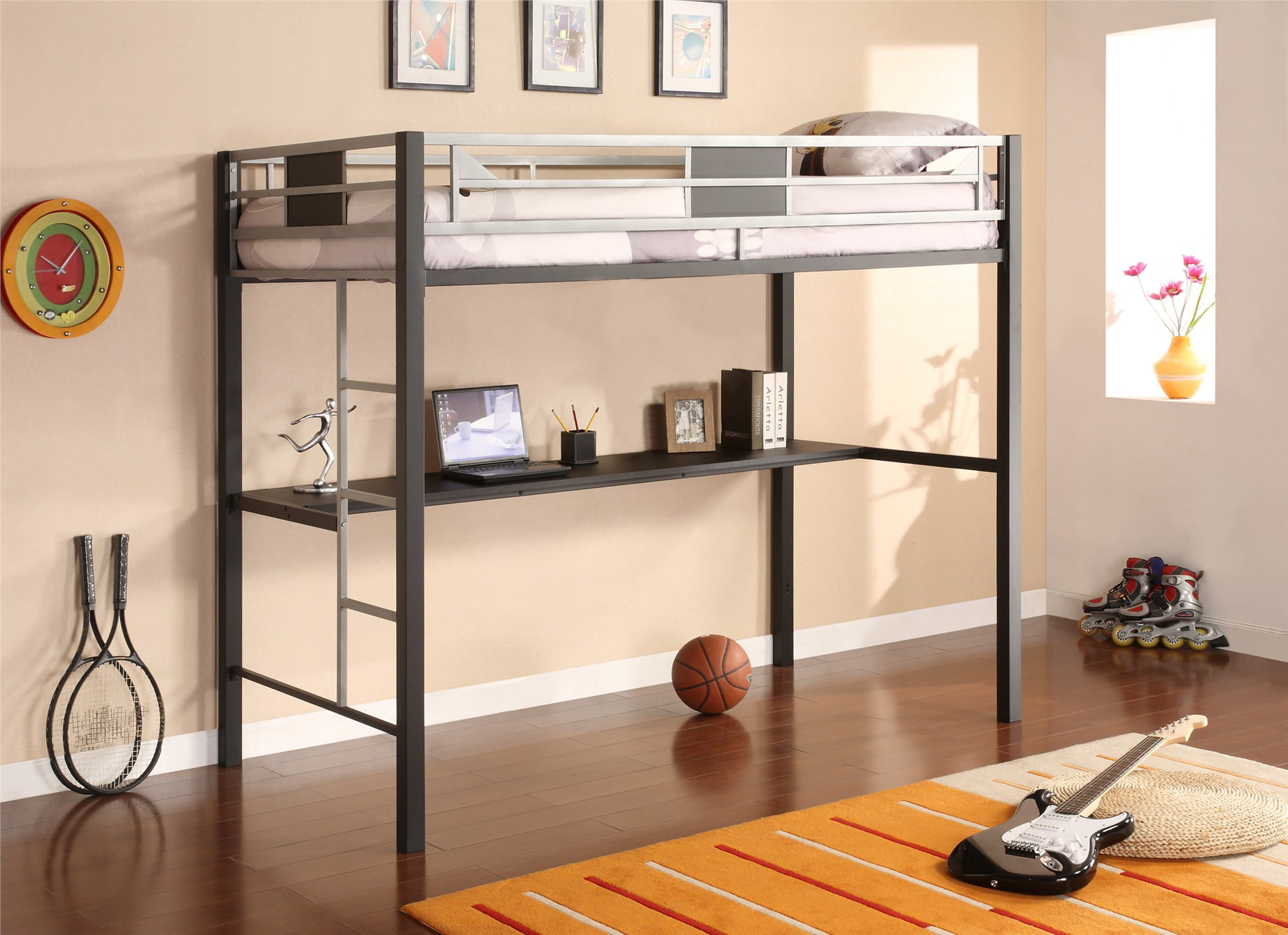 Prime Dhp Silver Screen Twin Metal Loft Bed With Desk Black Silver Home Interior And Landscaping Ponolsignezvosmurscom