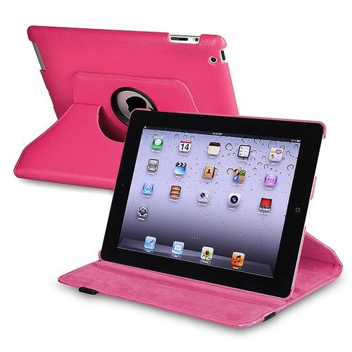 Insten 360-degree Swivel Leather Case For Apple iPad 2 / 3 / 4, Hot Pink