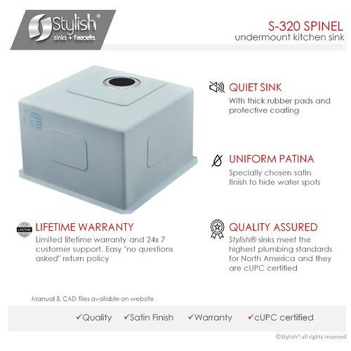 Stylish 22'' x 18'' Single Bowl Undermount Laundry Sink by