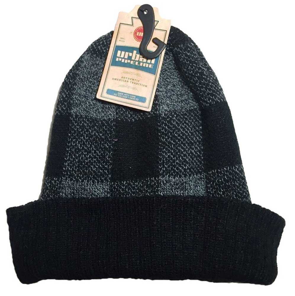 Urban Pipeline Men Buffalo Checked Beanie Knit Hat W Cuff One Size YUP53CW04