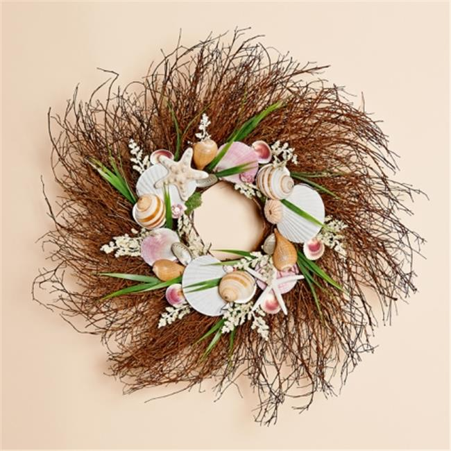 Harvest of Barnstable PMW24 24 inch Natural Twig Wreath With Pink Shells