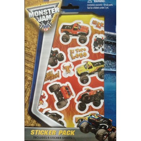 Sticker Pack Stickers - Includes 4 Stickers Sheets By Monster Jam - Monster Truck Stickers