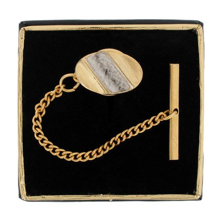 Gold & Silver Two Tone Oval Diagonal Stripe Mens Tie Tac Tack Pin Gift Boxed