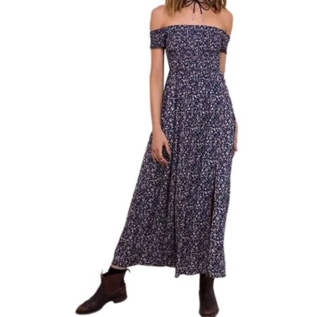 7b8aeebd2a VISTA - Women Summer Boho Off Shoulder Long Maxi Casual Dresses Slit Split  - Walmart.com