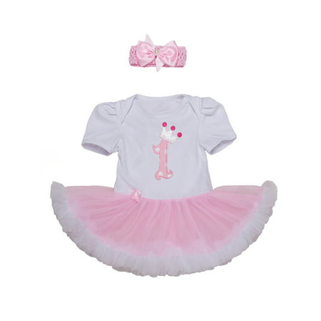 StylesILove Cute Character Baby Girl Holiday Birthday Party Tutu Dress Romper with Headband 2 pcs Outfit Set (95/18-24 Months, Pink 1st Birthday)