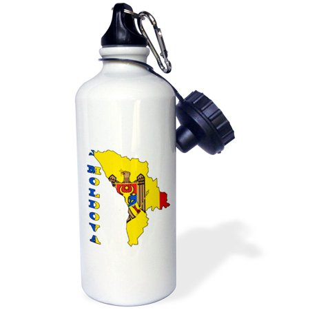 3dRose The flag of Moldova in the outline map and name of the country Moldova, Sports Water Bottle, 21oz