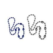 Jumbo Football Beads Royal Blue/ Silver 2 Piece