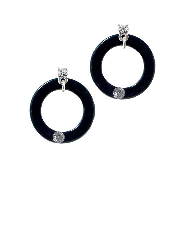 """Acrylic 7/8"""" Ring with 4mm Crystal Black Clear Crystal Post Earrings"""