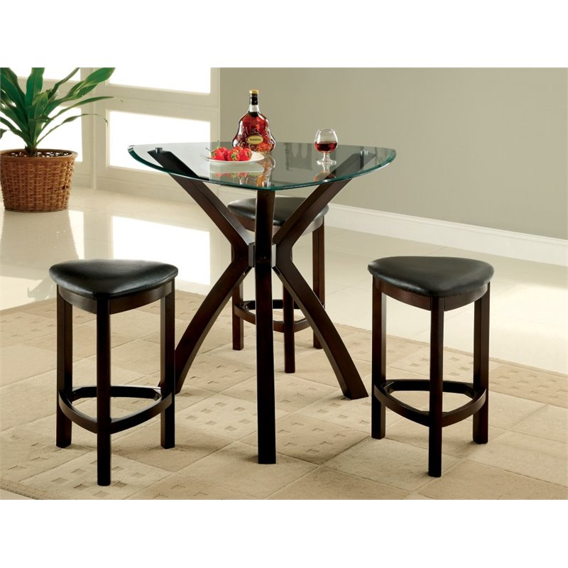 Furniture of America Jubert 4 Piece Counter Height Pub Set in Espresso
