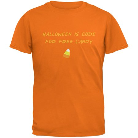 Halloween is Code For Free Candy Tangerine Adult T-Shirt - Coupon Code Halloween Costumes.com