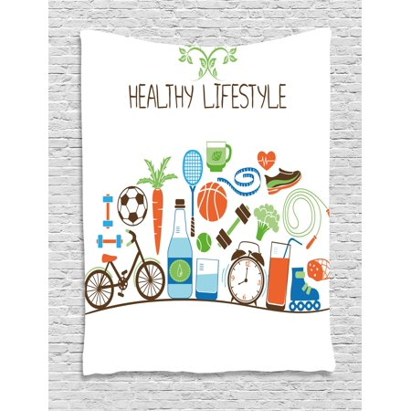 Fitness Tapestry  Healthcare Theme Athletic Energetic Life Routine Wellness Gym Equipment Vegetables  Wall Hanging For Bedroom Living Room Dorm Decor  60W X 80L Inches  Multicolor  By Ambesonne