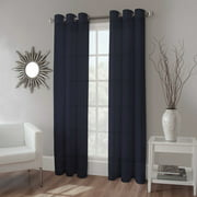 "2 PANEL MIRA  SOLID NAVY BLUE SEMI SHEER WINDOW FAUX SILK ANTIQUE BRONZE GROMMETS CURTAIN DRAPES 55 WIDE X 84"" LENGTH"