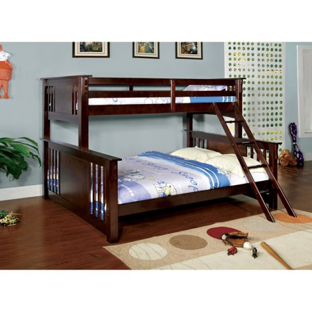 Furniture Of America Spring Twin Over Queen Bunk Bed Dark Walnut