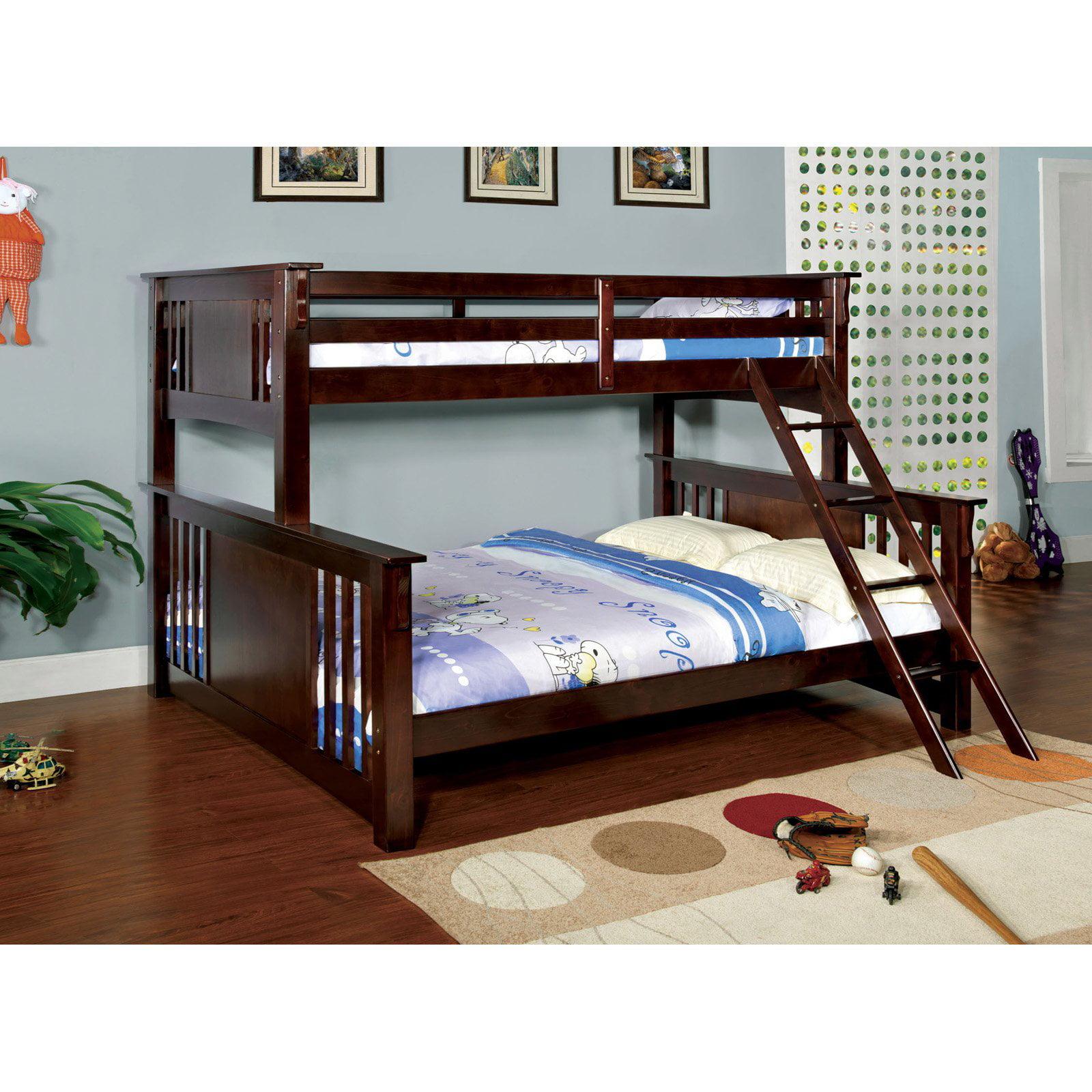 Furniture of America Spring Twin over Queen Bunk Bed - Dark Walnut