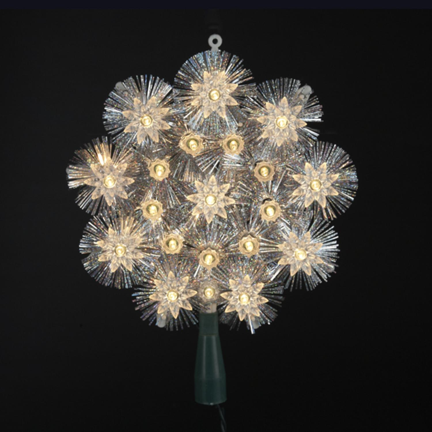 "8"" Lighted Shimmering Silver Tinsel Round Snowflake Christmas Tree Topper - Clear Lights"