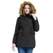 Women Hooded Thicken Fleece Lined Parka Jacket Warm Winter Faux Fur Coat Ladies Long Overcoat with Pockets