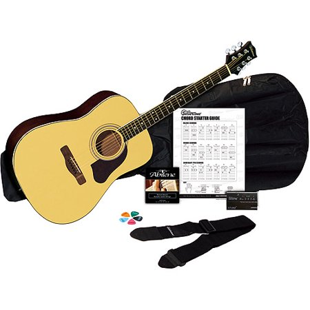 Silvertone SD3000 Natural Acoustic Guitar Package with Tuner, Gig ...