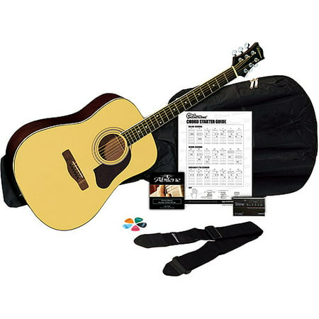 Silvertone SD3000 Natural Acoustic Guitar Package with Tuner, Gig Bag. Guitar Strap. Strings, Picks and Chord Chart