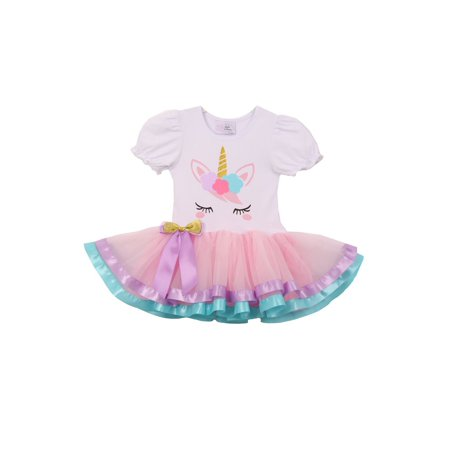 girls white pink unicorn detail tie accent banded hem tutu dress