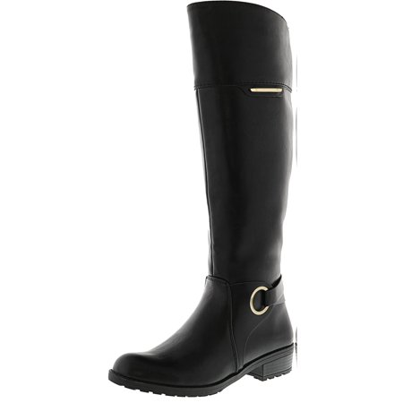 Leather Equestrian Boots - Alfani Women's Jadah Wide Calf Black Knee-High Leather Equestrian Boot - 5.5M