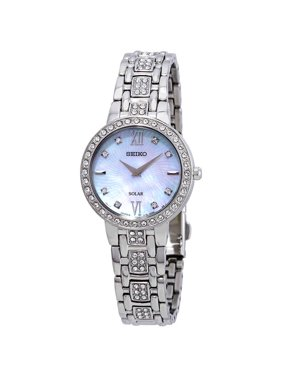 Seiko Women's Crystal Dress Quartz Stainless Steel Casual Watch Silver SUP359