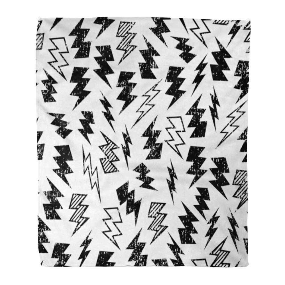 Laddke Throw Blanket Warm Cozy Print Flannel Pattern Black And White Distressed Lightning Bolt Kid Comfortable Soft For Bed Sofa And Couch 58x80 Inches Walmart Com Walmart Com
