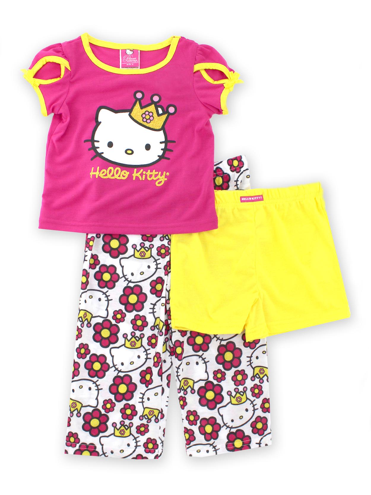 Princess Hello Kitty Girls 3-piece Pajamas Set HK967