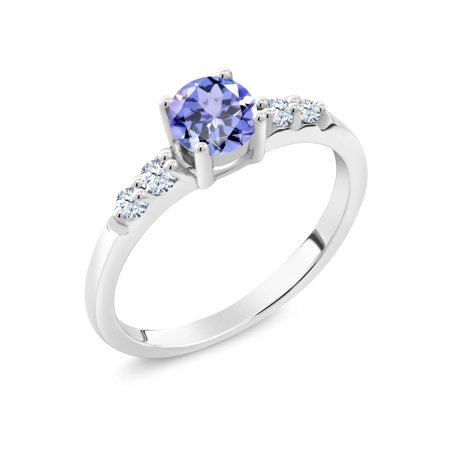 Round Blue Tanzanite White Created Sapphire 925 Sterling Silver Ring (0.63 Ct)
