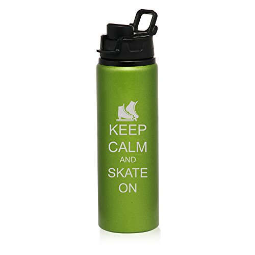 25 oz Aluminum Sports Water Travel Bottle Keep Calm And Skate On Ice Skates (Green) by