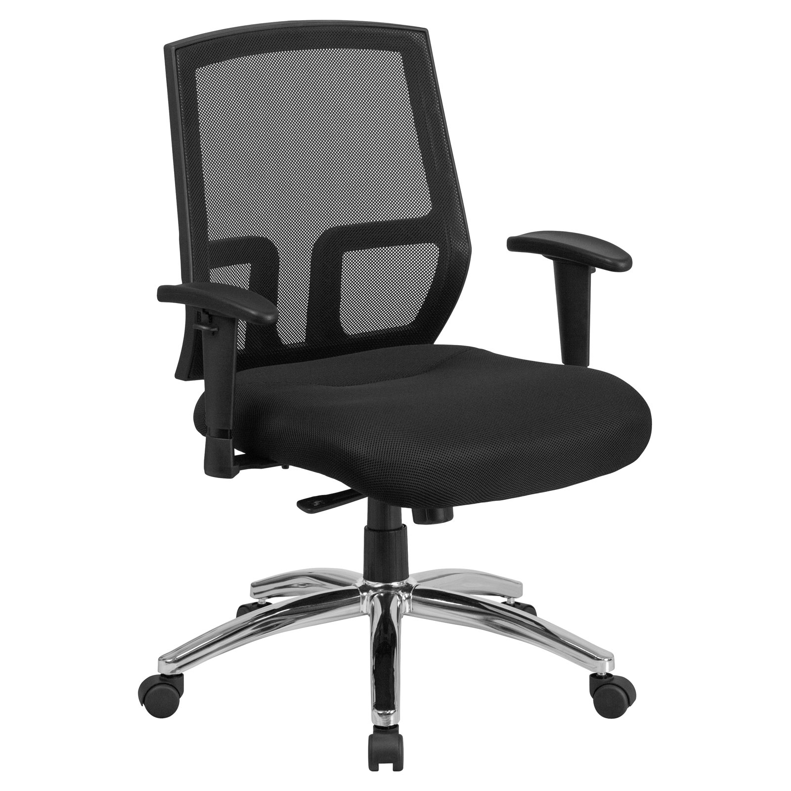Flash Furniture HERCULES Series 400 lb. Capacity Big & Tall Mesh Mid-Back Executive Swivel Office Chair with Height Adjustable Arms