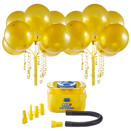 Bunch O Balloons Portable Party Balloon Electric Air Pump Starter Pack, Includes 16ct 11in Self-Sealing Gold Latex Balloons](Party Balloon Pump)