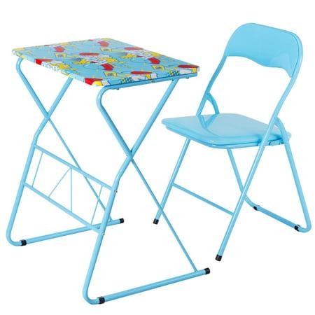 Costway Kids Folding Table Chair Set Study Writing Desk Student Children Home School