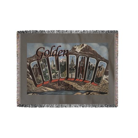 Chenille Colorado Blanket - Golden, Colorado - Large Letter Scenes (60x80 Woven Chenille Yarn Blanket)