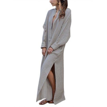 - Plus Kaftan Dresses Women Casual Long Sleeve Maxi Tunic Shirt Dress Oversized Linen Baggy V Neck Split Vintage Caftan