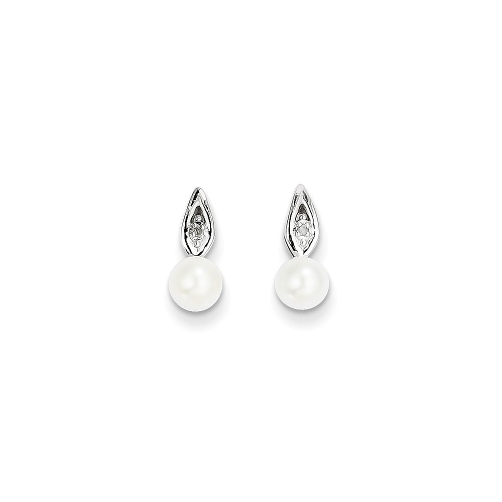14k White Gold 0.4IN Long 5x3 Oval Genuine Pearl Diamond Earrings
