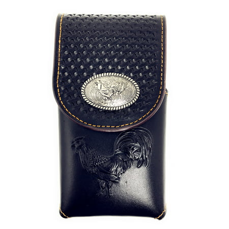 - Western Cowboy Tooled Basketweave Leather Rooster Concho Belt Loop iPhone Cellphone Holster Case